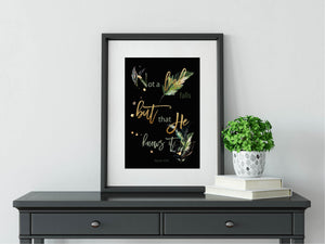 Not a leaf falls, Black- Foiled Islamic Art Print
