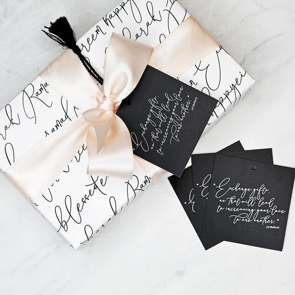 Calligraphy Gift Wrap - Silver Lining UK