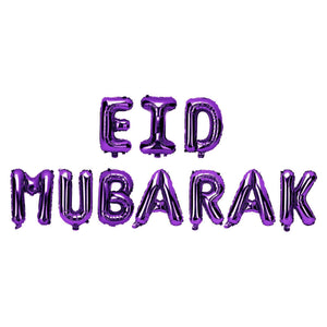 Eid Mubarak Purple Foil Balloon Kit - Silver Lining UK