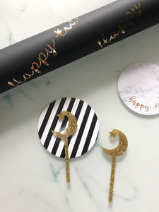 Luxury Foiled Happy Eid Gift Wrap - Black