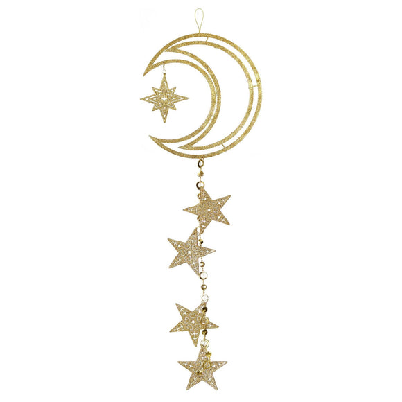 Gold Glitter Crescent Moon & Stars Hanging Decoration - Silver Lining UK