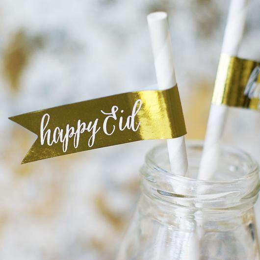 Happy Eid Metallic Foil Flag Stickers - Silver Lining UK