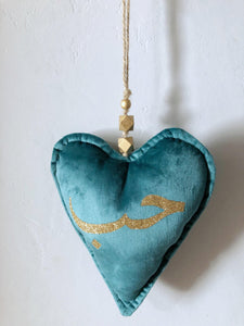 Hanging Heart - Gold Glitter Hub (Love) Green
