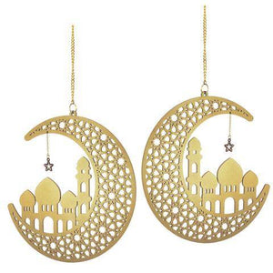 Gold Wooden Ramadan and Eid Crescent and Star Decoration