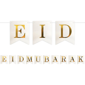 Happy Eid Pennant Banner - White and Gold