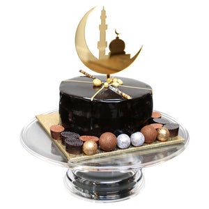 Gold Crescent and Masjid Silhouette Cake Topper
