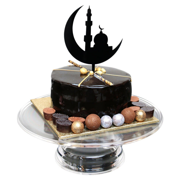 Black Crescent and Masjid Silhouette Cake Topper