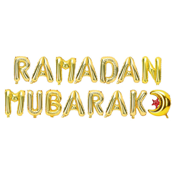 Ramadan Mubarak Gold Foil Balloon Kit - Silver Lining UK