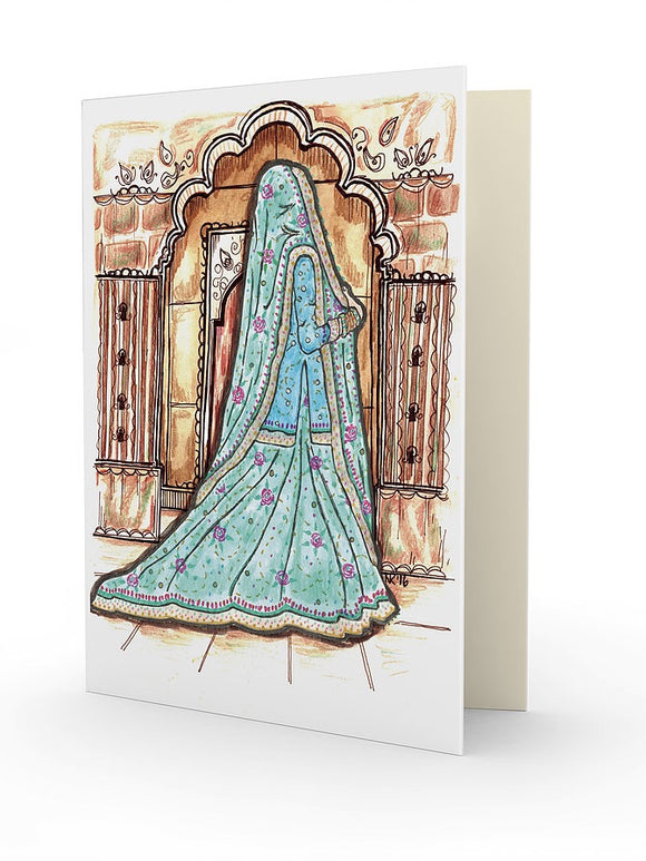 Sea Green Lengha - Wedding Greeting Card