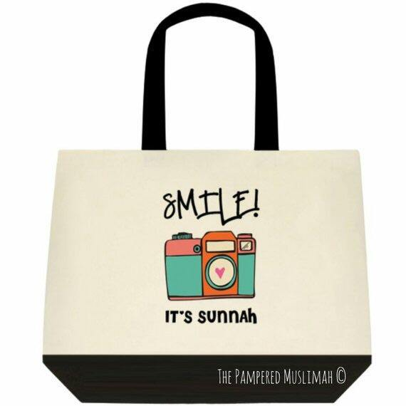Smile it's Sunnah - Green Tote bag. - Silver Lining UK