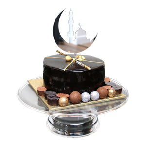 Silver Crescent and Masjid Silhouette Cake Topper