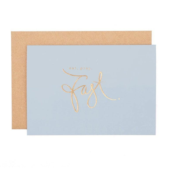 Eat, Pray, Fast Ramadan Greeting Card - Powder Blue
