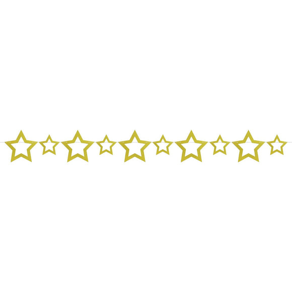 Gold Glitter Star Cutout Garland - Silver Lining UK