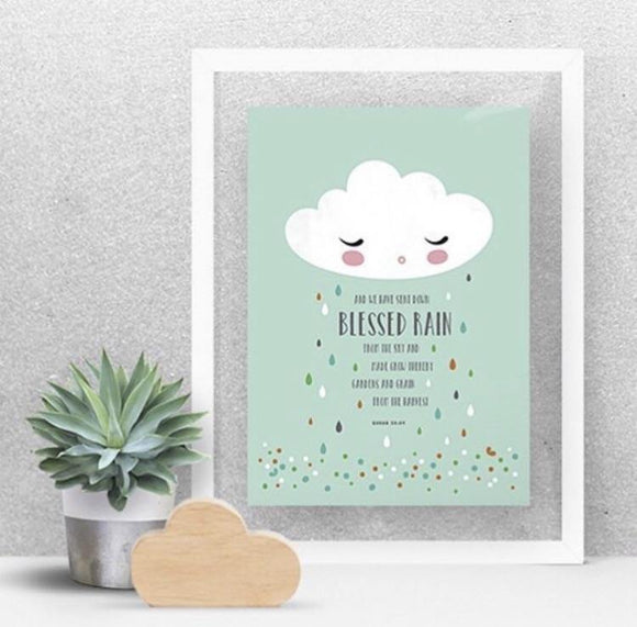 Blessed Rain A4 Art Print - Mint