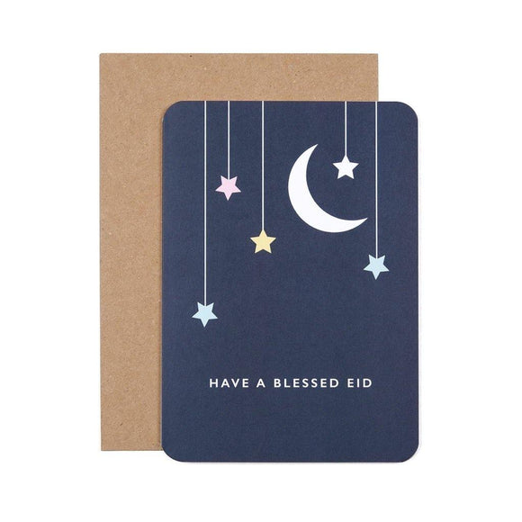 Eid Mubarak Greeting Card - Moon & Stars Foiled