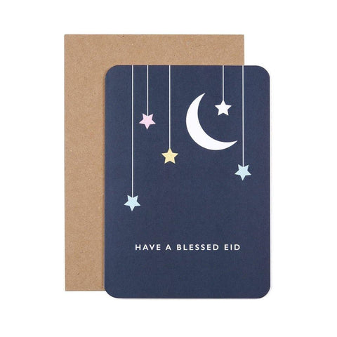 Eid Mubarak Greeting Card - Moon & Stars