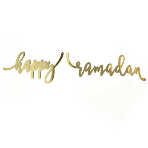 Gold Mirror Calligraphy Banner 'Happy Ramadan'