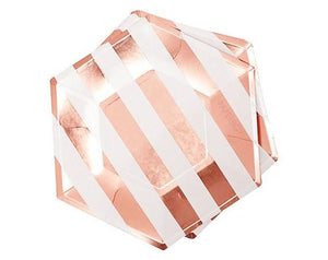 Large Rose Gold Striped Plate