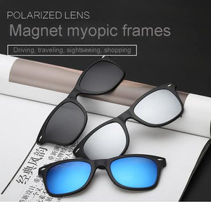 Combo of Two Premium Polarized UV400 6 in 1 Magnetic Shades Changeable Sunglasses Wayfarer Style Buy One Get One Free