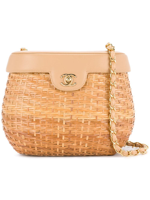 CHANEL CC Mark Gold Chain Straw Bag