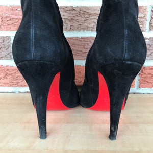 Christian Louboutin Paris Red Bottom Black Suede Ankle Boots  size 9/9.5