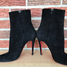 Load image into Gallery viewer, Christian Louboutin Paris Red Bottom Black Suede Ankle Boots  size 9/9.5
