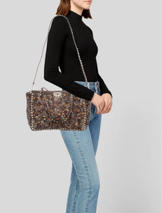 VALENTINO Feather Print Ponyhair Rockstud Tote