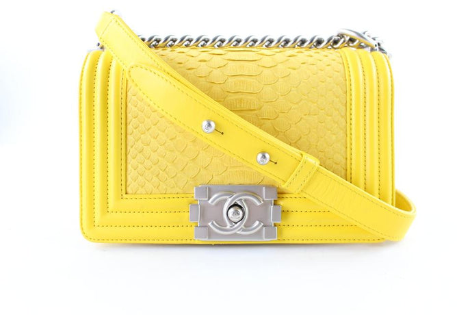 Chanel Boy Yellow Python Cross Body Bag