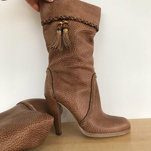 Gucci tasseled leather mid-calf boots size 7.5