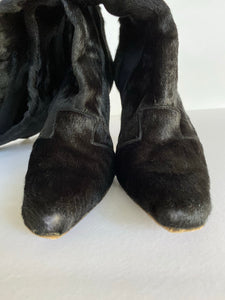 ON SALE Manolo Blahnik Knee High Pony Hair Boots