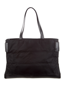 PRADA Leather-Trimmed Tessuto Tote