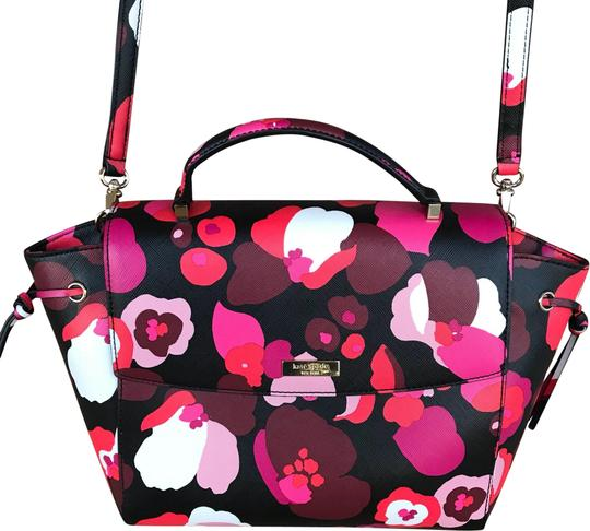 Kate Spade Lilah Laurel Way Wonder Multicolor Floral Pink/Black/Red/White Saffiano Leather Satchel