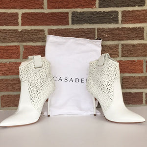 Casadei White Leather Ankle Boots Booties size 8.5