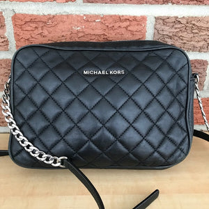Michael Kors Quilted Cross Body Black and Silver