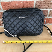 Load image into Gallery viewer, Michael Kors Quilted Cross Body Black and Silver