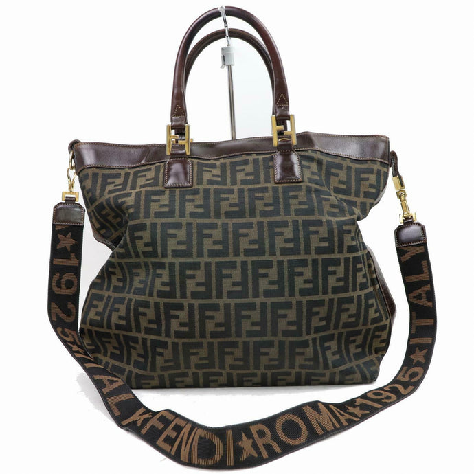 FENDI Brown Zucca Canvas Leather-Trimmed Bag