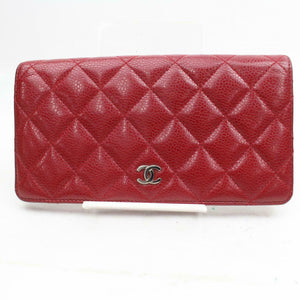 CHANEL Quilted Caviar Yen Wallet