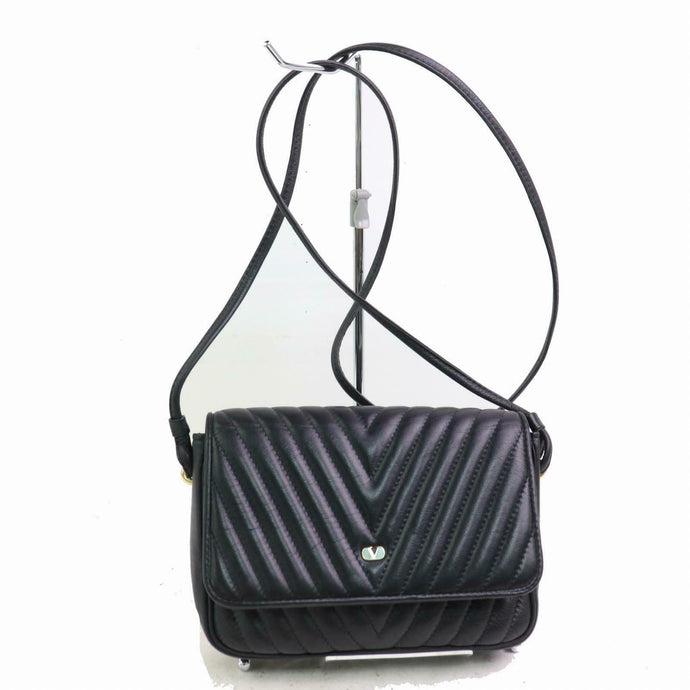 VALENTINO Black Leather Ripple Effect Crossbody