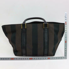 Load image into Gallery viewer, FENDI Dark Brown Canvas Vintage Striped Tote Bag