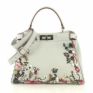 FENDI Peekaboo Embroidered Satchel