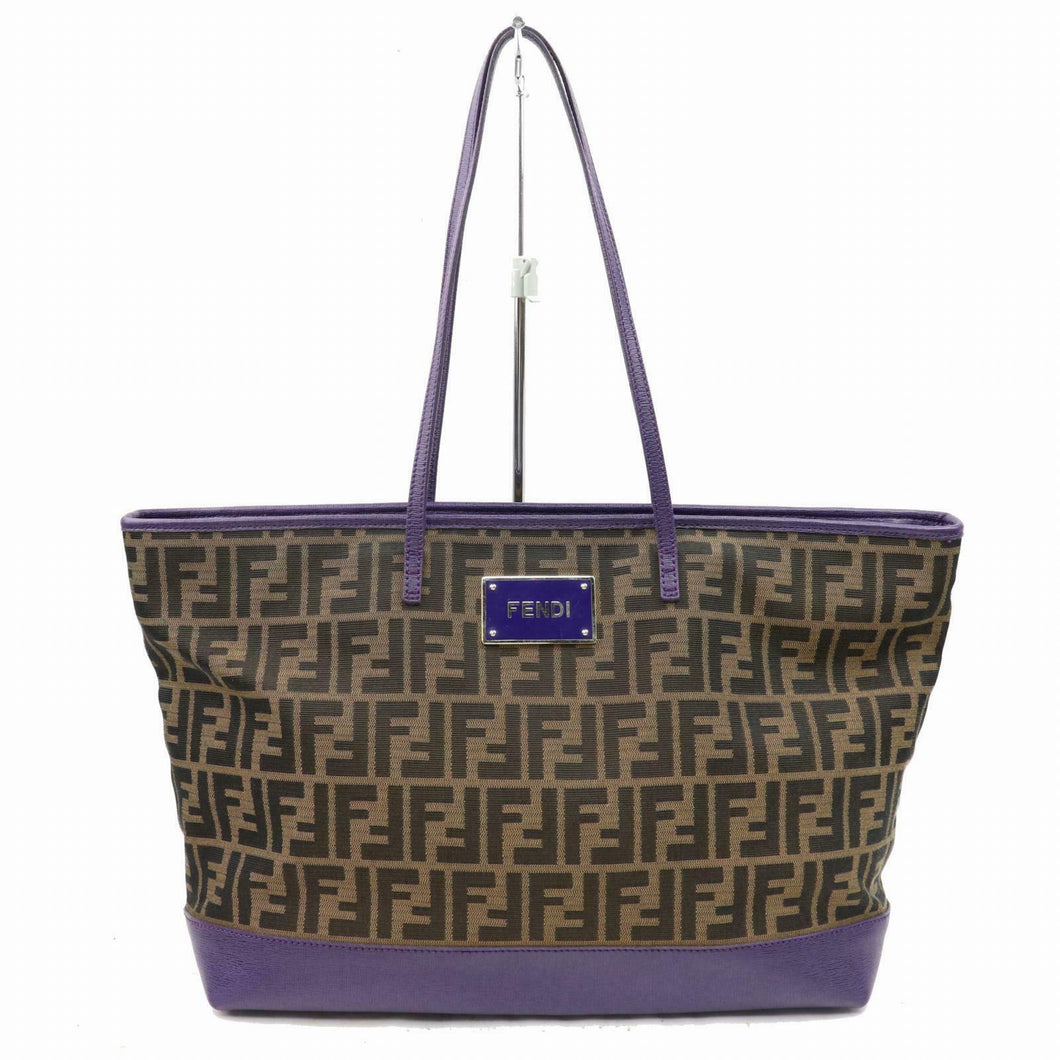 FENDI Brown Zucca Purple Leather Trimmed Tote Bag