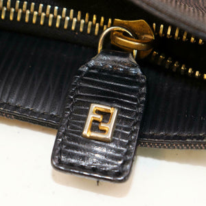 FENDI Dark Brown Canvas Vintage Striped Tote Bag