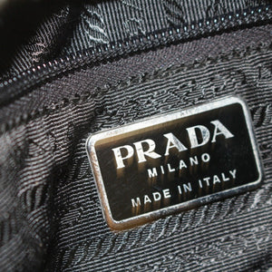 Prada Black Leather-Trimmed Tessuto Backpack