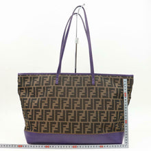 Load image into Gallery viewer, FENDI Brown Zucca Purple Leather Trimmed Tote Bag