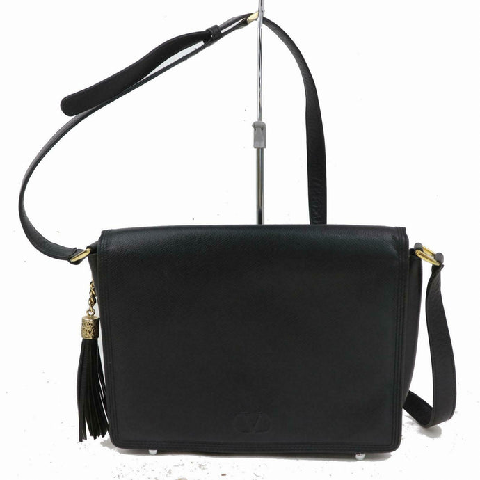VALENTINO Black Leather Flap Crossbody