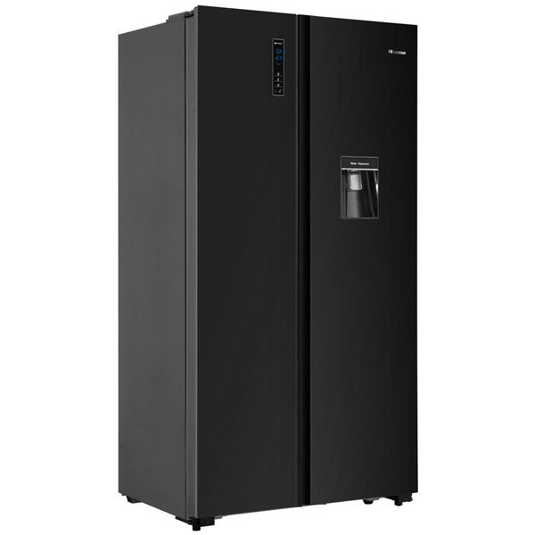 Hisense 512L Black Glass, Side by side refrigerator with water dispenser