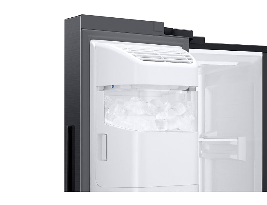 Samsung SBS 3 Door 602L Fridge Plumbed water & ice dispenser Gentle Black RS65R5691B4