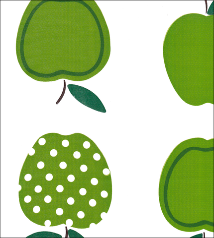 Apples and Dots Oilcloth Fabric in Green