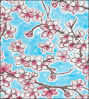 Cherry Blossom Light Blue Oilcloth