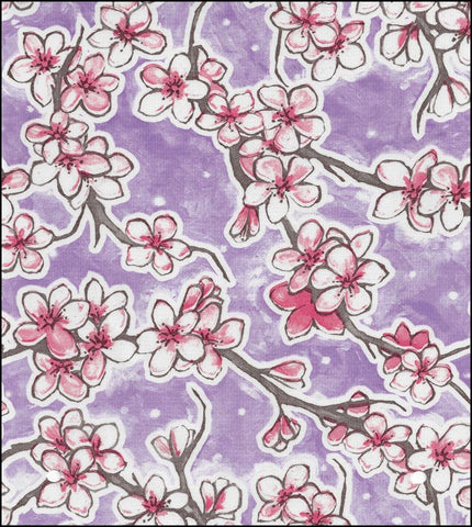 Cherry Blossom Purple Oilcloth Roll